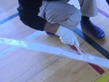 新規バスケットコートデザイン部分ライン塗装