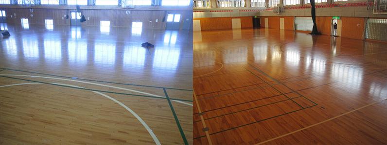 光沢がなくなった体育館スポーツフロアーも、ウレタン塗装メンテナンスを行うことで光沢が蘇ります。