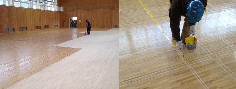 体育館木床(スポーツフロア)新設工事7