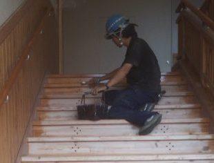 小学校階段研磨塗装