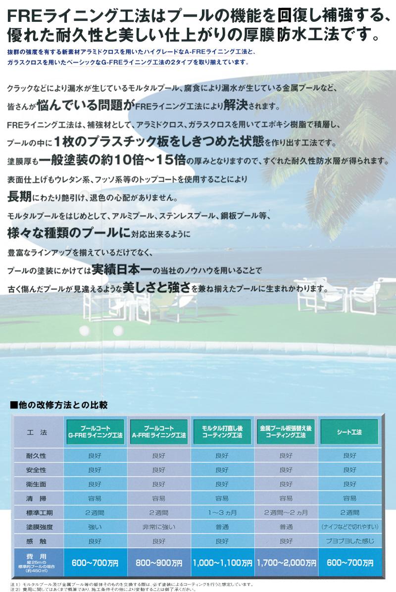 プールコートFREライニング工法