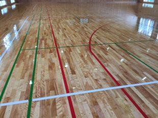 長野県内体育館の床改修工事塗装完了