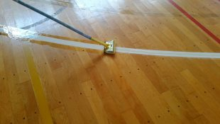 長野県内中学校バスケットボールライン変更工事