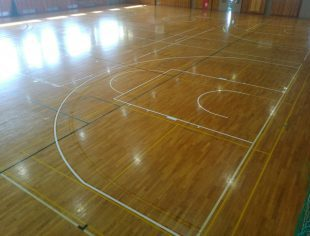 バスケットボール改線工事施工後