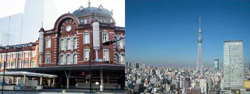 東京駅とスカイツリー