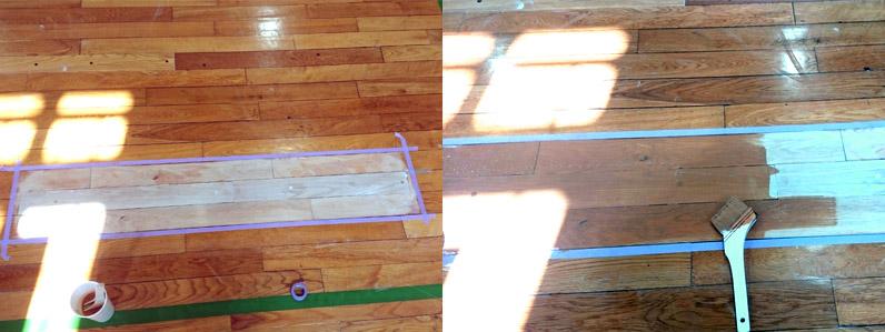 小学校体育館床部分貼り替え施工の様子