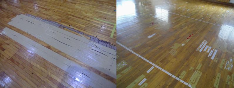 体育館床のメンテナンスが行われていない状況です。
