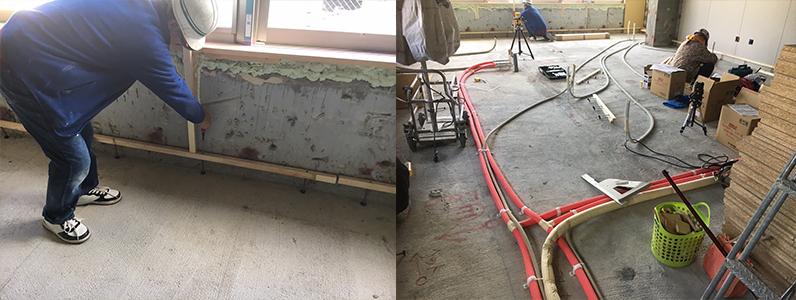内装リフォーム前の現場の状況です。床下地に使われるパーティクルボードの搬入も終わり、いよいよ施工をしていきます。