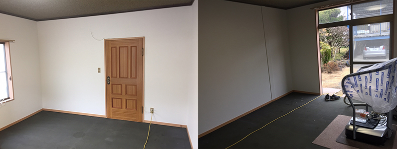 フローリングの施工前です。カーペットを剥ぐと、制振材がでてきました。制振材は防音マットや防振マットとも呼ばれ、騒音を軽減します。マンションや戸建て住宅の遮音を目的として採用されています。
