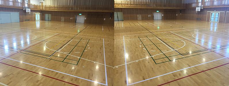 バレーボールコートをラインテープにて対応している体育館です。ラインテープは目安となる期間を守って使用してください。テープの放置によってスポーツフロアーに不具合が生じる場合があります。