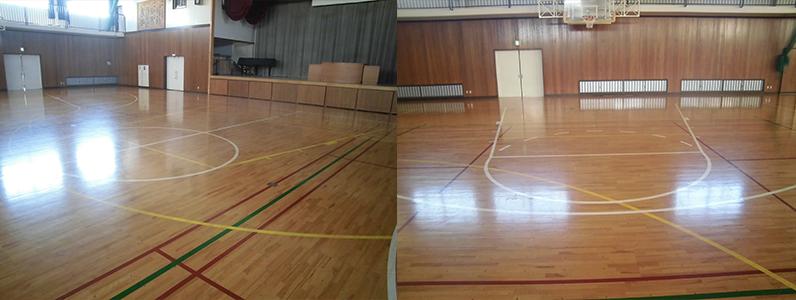 バスケットボールコートライン改線前のようすです。センターサークル近くから撮っているものと、斜めから撮っているものになります。