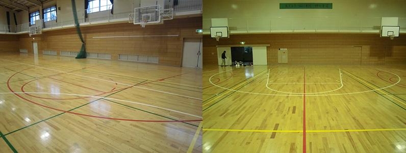 バスケットボールコートライン施工前・旧ルール―のコートデザインになります。