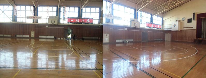 千葉県・某中学校のバスケットボールコートライン変更工事になります。左の写真はバスケットボールコートライン旧ルールデザイン・右の写真はバスケットボールコートライン変更後の新ルールデザインとなります。