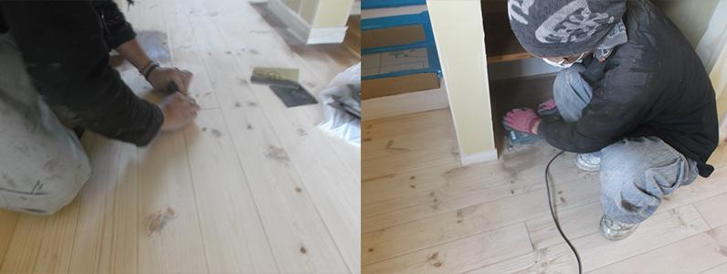 左はペーパ掛けを行っているゆうすです。右は隅の方を削っているようすです