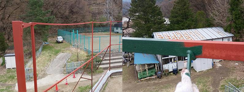 左の写真はケレン後に、サビ止めを塗ったようすです。右の写真は中塗り作業になります。