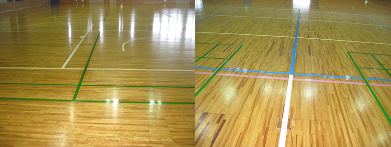 各種コートライン増設後のようすです。 バレーボールコートラインを1面・バドミントンコートラインを4面増設しました。