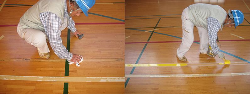 左の写真はフローリングに付着した汚れを取り除いているようすです。右の写真はバレーボールコートライン引きのようすです。