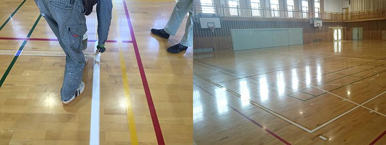 既存のスポーツフロアーに新たにバレーボールコートラインを引きました。ラインテープで対応していたバレーボールコートも剥がれや寸法の狂いなど気にせずにに利用できるようになりました。