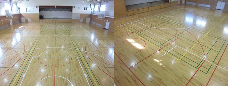 バスケットボールコートライン変更工事・部分変更の施工後です