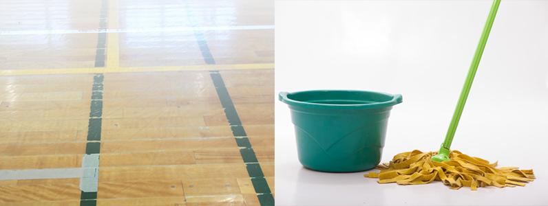 体育館床スポーツフロアー(フローリング)に水やワックスの使用はできるだけ避けるようにしましょう