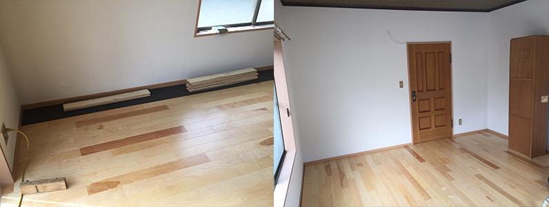 左の写真はフローリングの貼り終い。右も写真はフローリングリフォーム完了の写真です。 明るく落ち着きのある空間になりました。