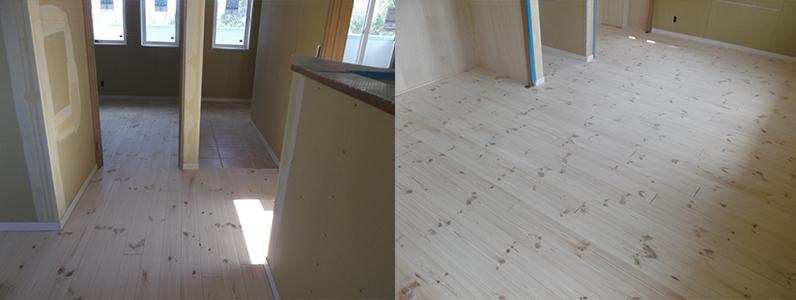 新築住宅、無垢フローリングの研磨が完了しました。着色されていたフローリングもきれいな白木になりました。きれいな白木色ですね。