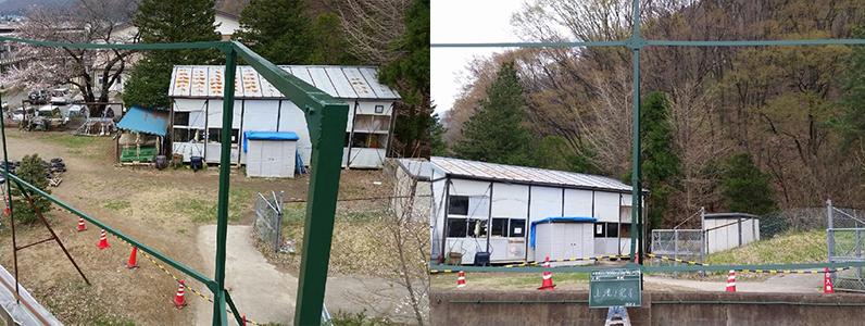 左の写真は中塗り完了のようすです。右の写真は上塗り完了後のようすです。サビていたバックネットもキレイに再生されていきます。色が緑になると、バックネットって雰囲気がでてきますね