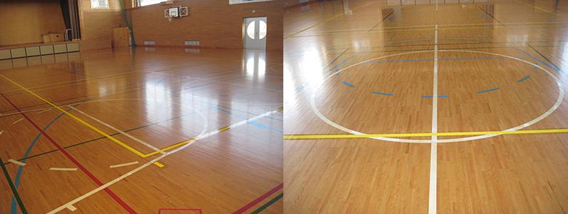 バレーボールコートラインを引いた後、仕上げ塗りを行っていきます。 仕上げ塗りを行うことで、コートラインの耐久性や耐摩耗性を高め、長く持たせることができます。
