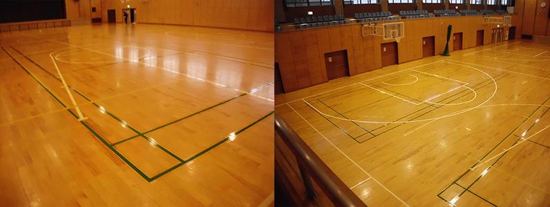 バドミントンコートライン引き及びバスケットボールコートライン引き完了写真です。