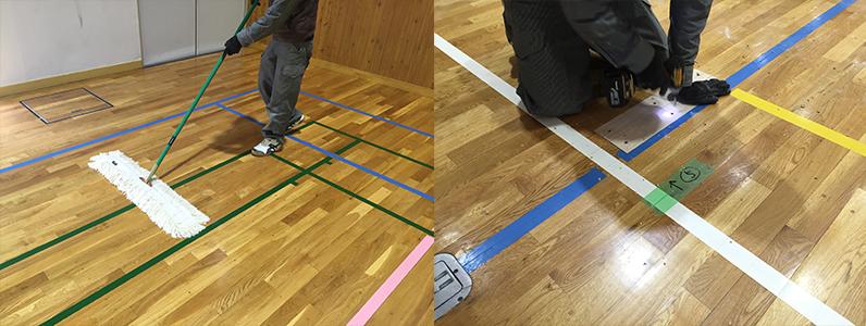 体育館床メンテナンスのようすです。左の写真は体育館床に適したモップを使用しての清掃です(日常清掃)右の写真は体育館床のフローリング部分張り替えです。