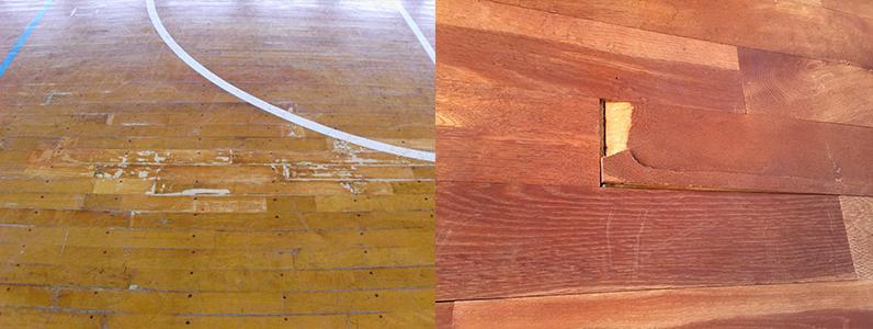 体育館床の損傷ヵ所です。左の写真はワックスによってフローリングが膨れたようす。右の写真はササクレになったようす。
