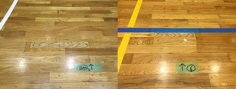 体育館床スポーツフロアー(フローリング)不良ヵ所の張り替え完了しました。