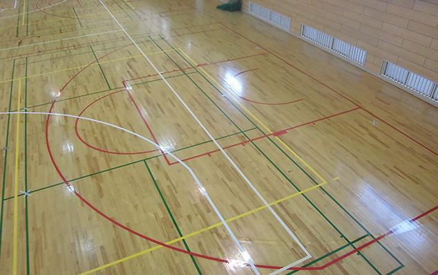 松戸市中学校バスケットボールコートライン改線工事