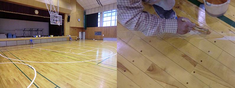 コートラインプロではバスケットボール改線にあたり、旧コートライン消去部に着色塗装を行っています。
