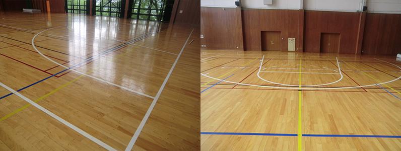 体育館既存床コートライン引き前です。