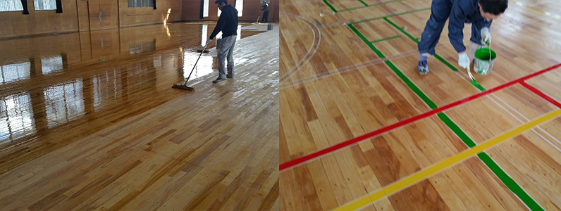 ウレタン塗装中塗り・スポーツ競技用コートライン引きのようすです