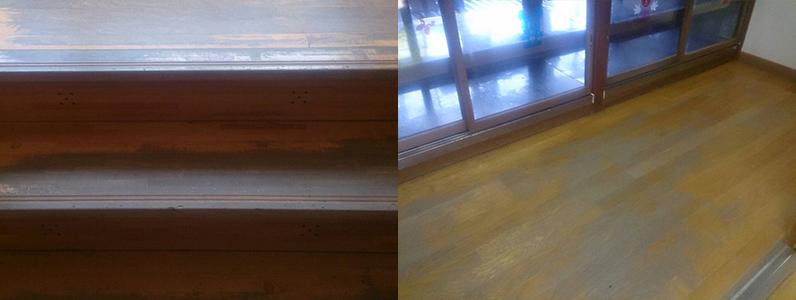 右の写真は施工前の階段・左の写真は施工前の踊場です。