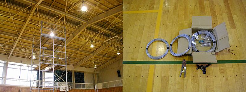 防球ネットの交換作業のために足場(ローリングタワー)を設置します。