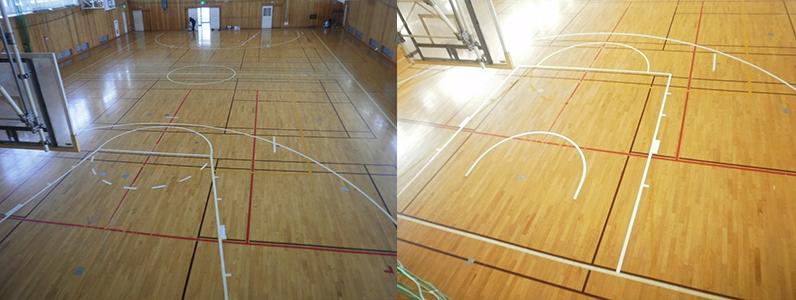 バスケットボールコートライン変更前・変更後です。旧コートデザイン不要部分を除去、着色して新ルールに必要となるコートラインを描きました。