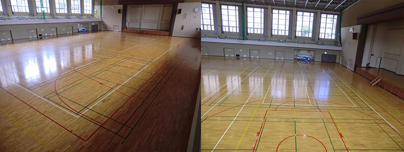 バスケットボールコートライン変更工事(施工前・施工後)