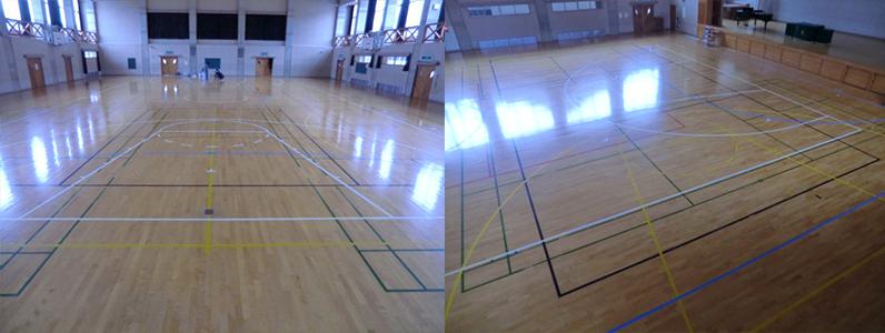 バスケットボールコートライン変更前の写真です。メインのバスケットボールコートラインは白1面、サブのバスケットボールコートラインは黄色2面となります。今回はこのメインとサブ3面の部分的な改線を行います。