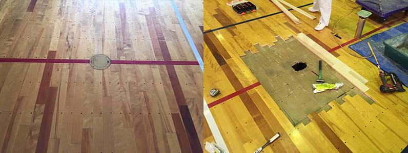 体育館床金具改修のようすです。左の写真は施工前の古い床金具、右の写真は床金具改修のせこうのようすです。