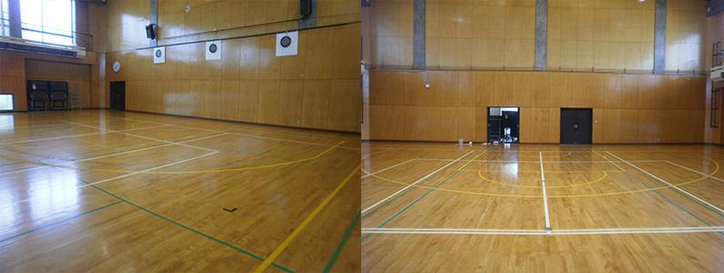 バスケットボールコートライン変更工事完了です。
