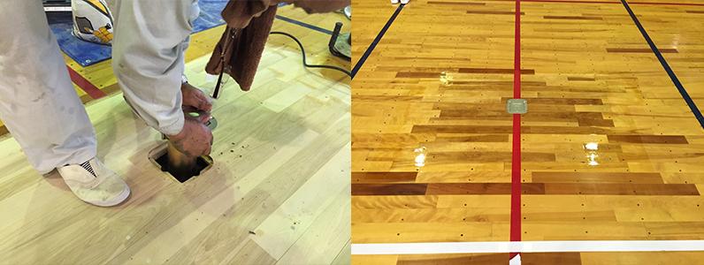 体育館床金具撤去・更新のようすです。フローリングを部分的に張り替え着色をしてウレタンにて仕上げました。