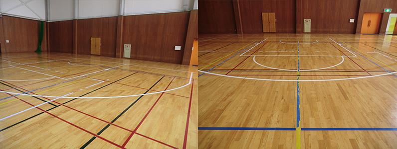 スポーツ競技用コートライン(バスケットボールコートライン)改線工事完了です