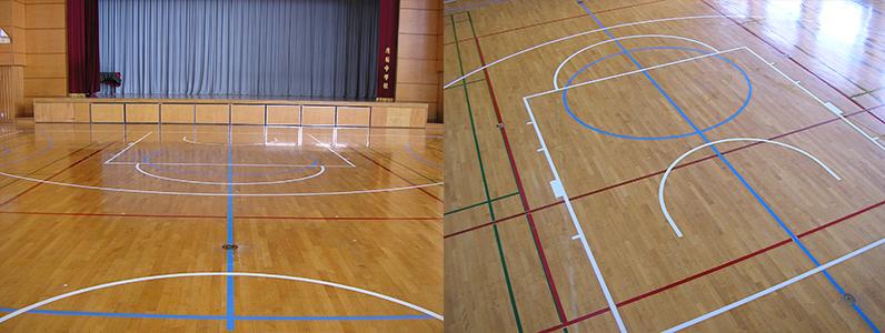 仕上がりのようすです。 ミニバスケットボールコートラインもはっきり見えるようになりました。またバスケットボールコートラインはコートのデザインが変わりました。