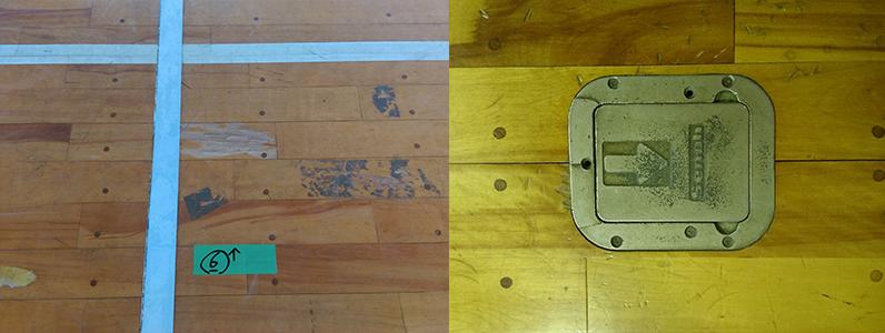 体育館床不具合事例1(床金具損傷・フローリング不良)のようす