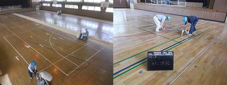 各写真は体育館床メンテナンス工事です。