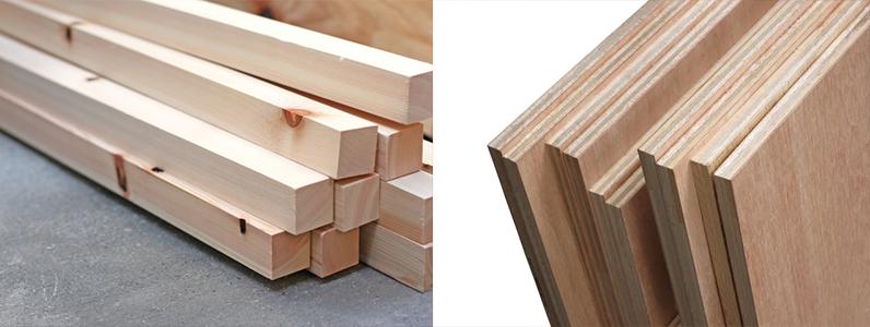 今回の床復旧工事、90mm角材とt15mmのベニア板で施工します。