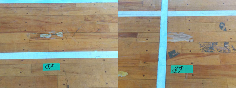 長野県内社会体育館の床補修前と補修後